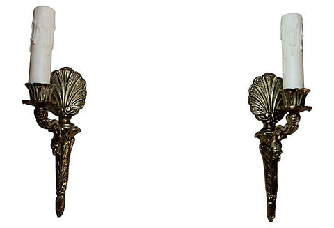 A Gustavian-Style Shell Sconces, Pair