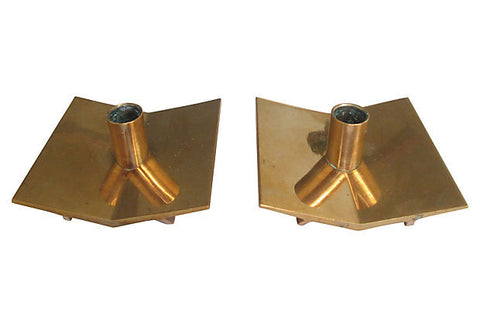 Pierre Forsell Brass Candleholders, Pair