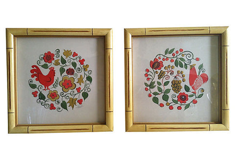 Swedish Folk Art Frames, Pair