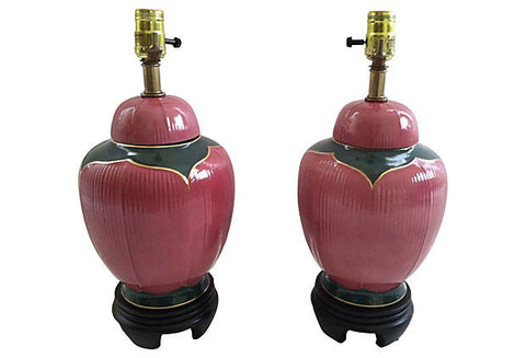 A  Midcentury Hollywood Regency Lamps, Pair
