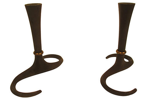 Danish Iron Candleholders, Pair