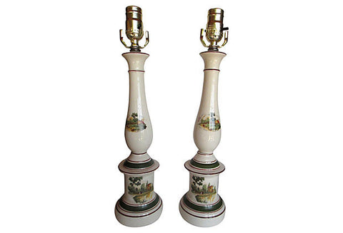 A French Country Scene Lamps, Pair