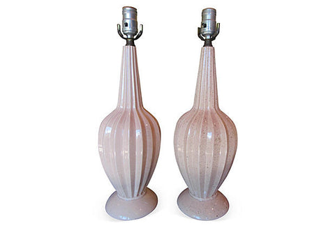 Midcentury Glazed Nude Table Lamps, Pair