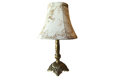 A Gustavian Style Brass Lamp with Shade