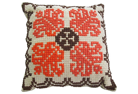 Vintage Swedish Embroidered Pillow