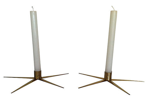 Swedish Brass Candleholders, Pair