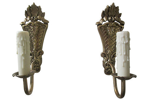 A Gustavian Style Brass Sconces, Pair