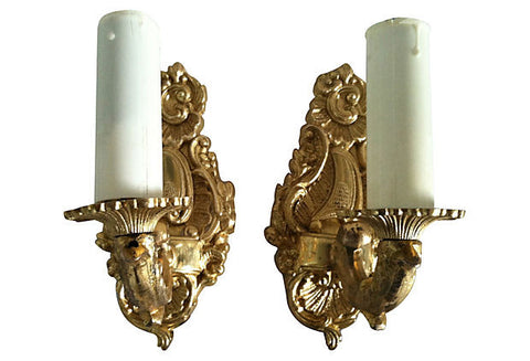 Gustavian Sconces, Pair