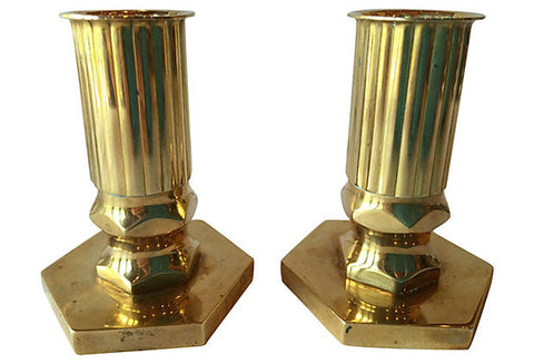 Swedish Midcentury Solid Brass Candleholders, Pair