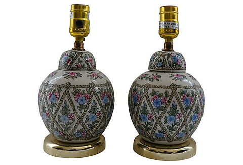 A Floral Jar Lamps, Pair
