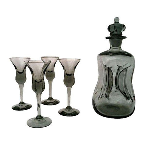 A  Mid-Century Danish Black Glass Decanter Set
