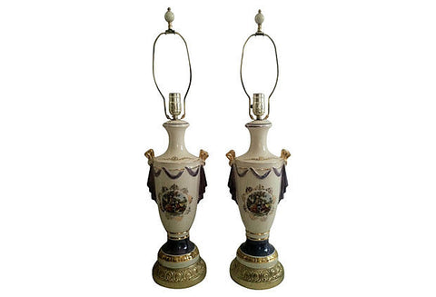 A Antique Urn Lamps, Pair