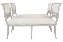 Pair of Rare Matching Gray Painted Benches- SOLD-