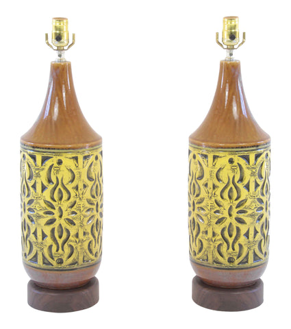 A  Pair of Danish Mid-Century Pottery Lamps
