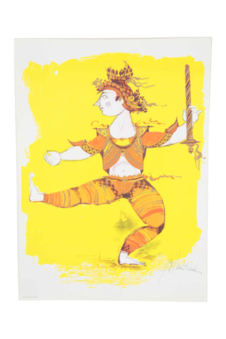 "Bjørn Wiinblad ""Dancing Indian Warrior"" Print"