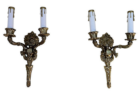 A Gustavian-Style Torch Sconces, Pair