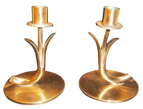A Pair of Small Gunnar Ander Brass Candle Holders
