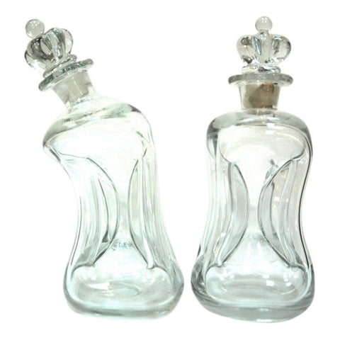 Pair of Clear Holmegaard Kluk Kluk Decanters