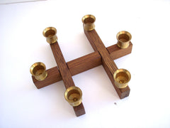 A Midcentury Danish Retro Teak Candle Holders