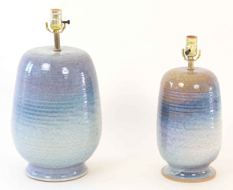 A Pair of Glazed Mid-Century Lamps