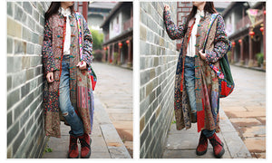 Linen Patchwork Trench Long Windbreaker - TAIGS000