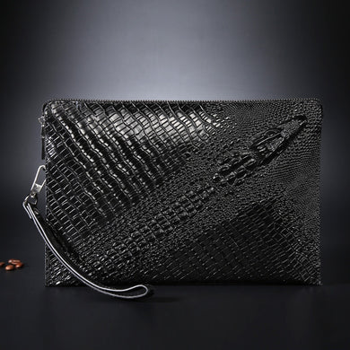 Crocodile pattern men's leather clutch bag - TAIGS000