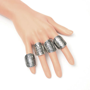 4PCS/Set Ethnic Carving Ring - TAIGS000