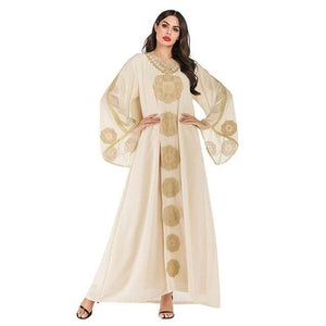 Arabian Chic Ethnic Embroidery Abaya with Scarf - TAIGS000
