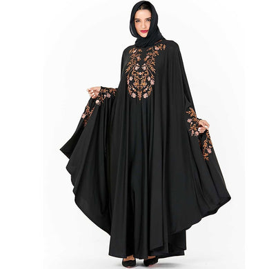 Black Embrodered Dubai Abaya - TAIGS000
