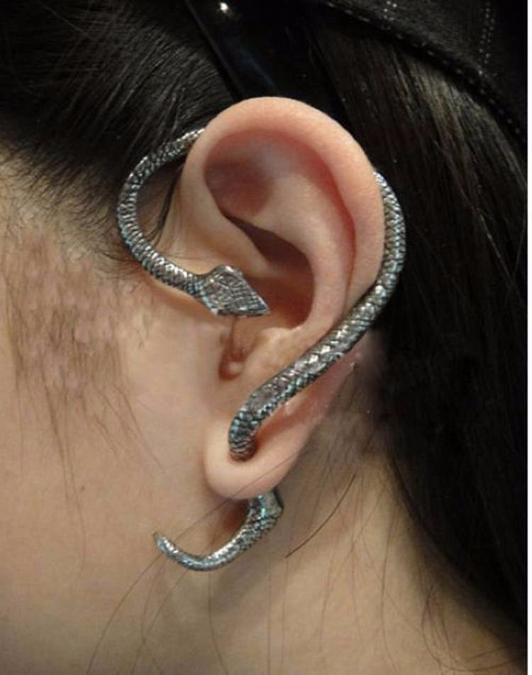Gothic Punk Snake Winding Cuff Earrings - TAIGS000