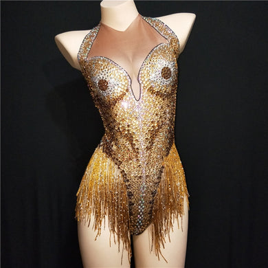 Showgirl Gold Rhinestone body suit - TAIGS000