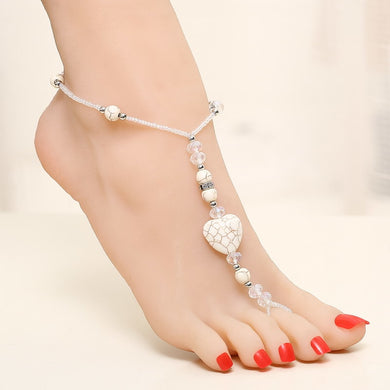 White Beads Heart Anklet - TAIGS000