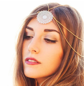 Metal Flower Head Chain Hair - TAIGS000