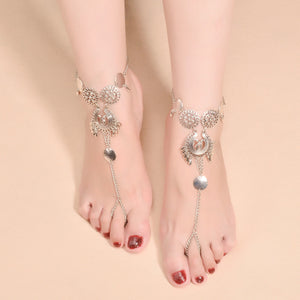 Hollow Flower Tassel Anklets - TAIGS000