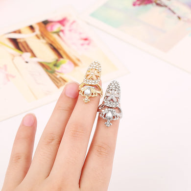 Crystal Small Flowers Nail Rings - TAIGS000