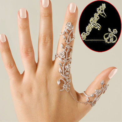 Double Finger Rhinestone Rings - TAIGS000