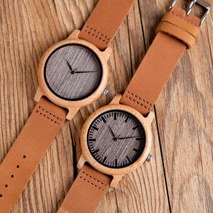 Vintage Bamboo Watch With Leather Bands - TAIGS000