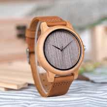 Load image into Gallery viewer, Vintage Bamboo Watch With Leather Bands - TAIGS000