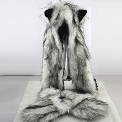 Wolf Ears Paws Faux Fur 3 in 1 Hat Scarf Mittens - TAIGS000