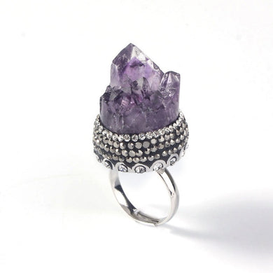 Natural Purple Amethysts Ring - TAIGS000