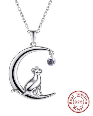 Cat necklace - with a dangling zirconia moon. - TAIGS000