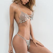 Load image into Gallery viewer, Hollow Silver Tassel Halter Two Piece - TAIGS000