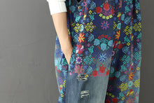 Load image into Gallery viewer, Denim Flower Painted Jumpsuit - TAIGS000