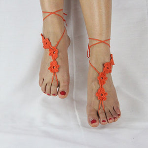 Crochet Flower Barefoot Sandals - TAIGS000