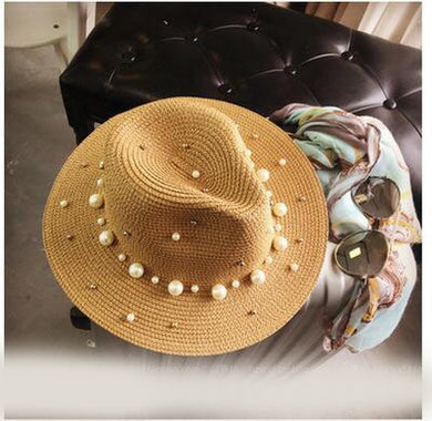 British pearl beading straw hat - TAIGS000