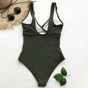 Solid Color Falbala One-piece Swimsuit - TAIGS000