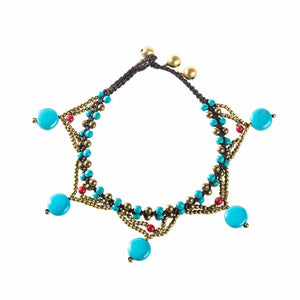 Handmade Colorful Stone Beads Charm Anklets - TAIGS000