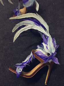 Blue Feather Women Leather Sandals - TAIGS000