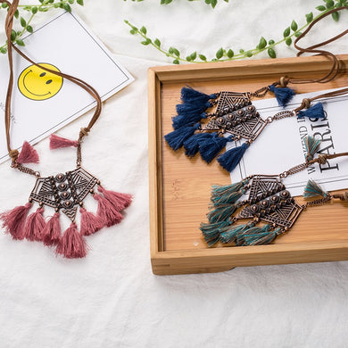 Ethnic Statement Tassel Necklace - TAIGS000