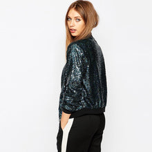 Load image into Gallery viewer, Sequined Blue Bomber Jacket - TAIGS000